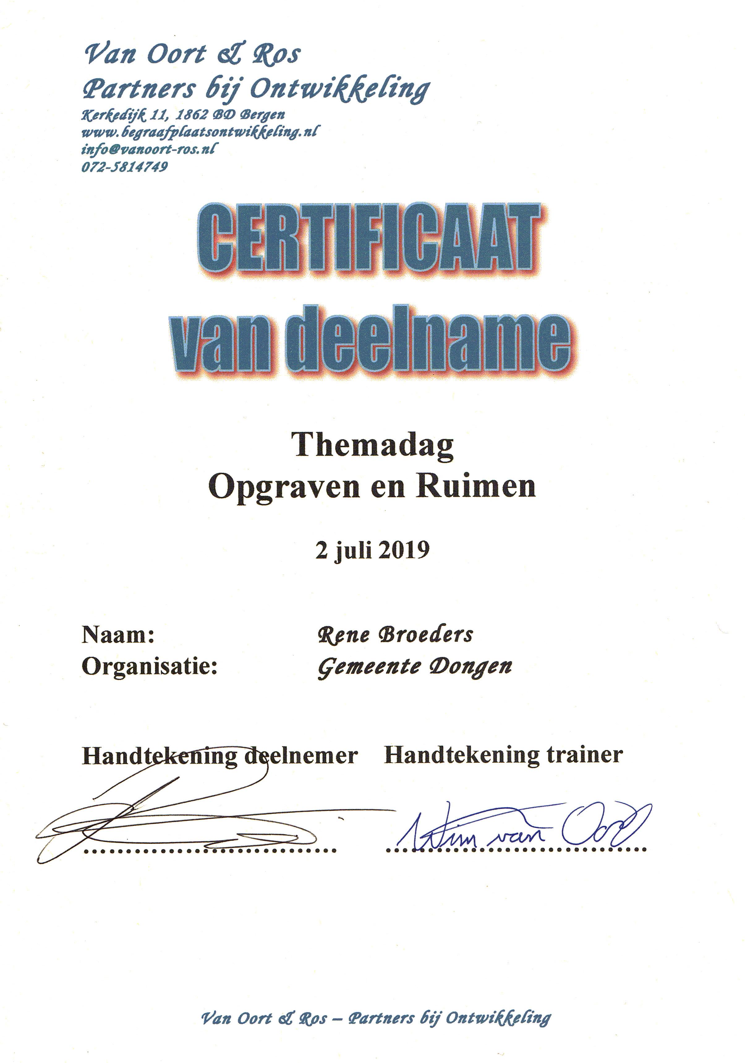 Opleidingen / Certificaat opgraven/ ruimen